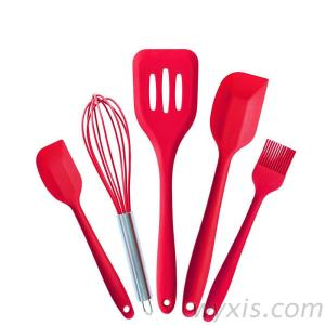Silicone Kitchen Utensils Set (5 Piece) In Hygienic Solid Coating