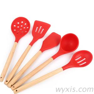 Silicone Kitchen Utensils Set With Wood Hand