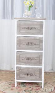 Resine Flower Drawer Wood Cabinet