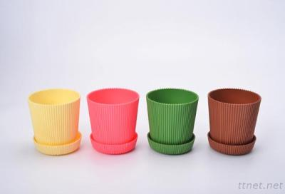 6 Multicolored Circle Flower Plant Pots / Planters With Saucer Pallet