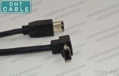IEEE 1394 Firewire Right Angle Cable with 1394a 6pin Female Connector 90degree Angle