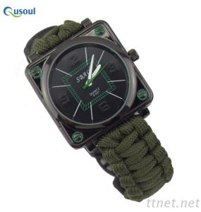 Paracord Survival Gear Watch, Square Watches Compass