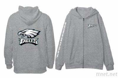 Zipper Hoodie With Flocking Effect