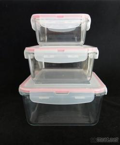Square Glass Food Container With PP Lid