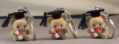 Plush Flocked Happy Graduation Bear - Key Ring