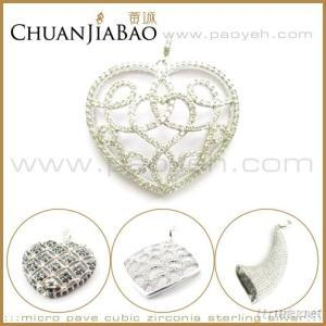 CZ Micro Pave Set 925 Sterling Silver Pendants