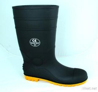 Pvc Rain Boots With Steel Toe And Midsole