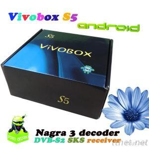ViVobox S5 Android Wifi 3D Full Hd Media Receiver With Dvb-S2 Twin Tuner Sks Nagra 3 Receiver For South America