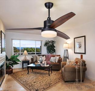 52 Inch Low Power Consumption Flush Mount Ceiling Fan With Light