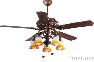 52 Inch Classic Wood Blade Design Ceiling Fan Light Pull Cord Control