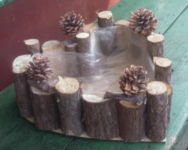 Wooden Flower Pot With Plastic Lining, Wood Baskets For Planting Wooden Planter