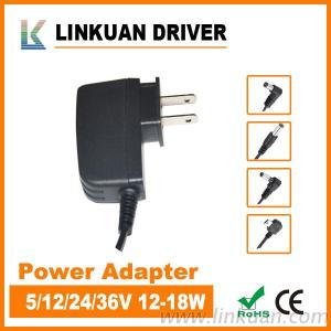 12V AC/DC Adapter 15W Slim Body With TUV, CE Certificate For Desk Lamp PS011