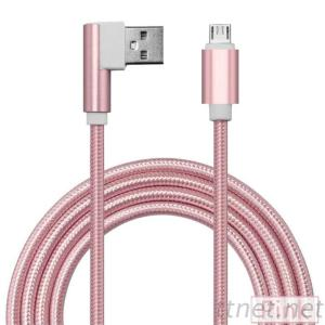 Angled Nylon Braided Data Cables, Micro Fast Charging USB Cable