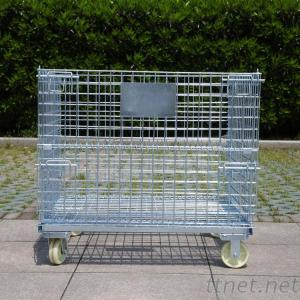 Zinc-Plated Warehouse Steel Pallet Cage Folding Metal Storage Cage