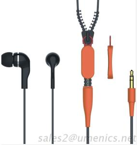 Hot Selling Stereo Zipper Cable In-Ear Earphones With Customized Logo