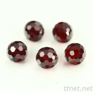 Garnet Color 8Mm Round Faceted Glass Crstyal Bead