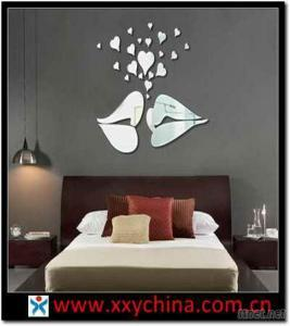 Acrylic Wall Mirror Stickers Of Kissing Lips