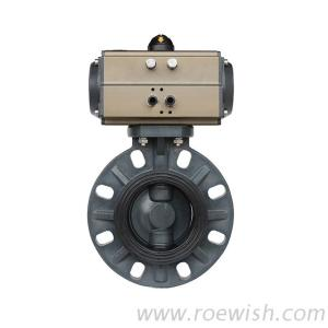 Double Acting Single Acting Actuated Pneumatic PVC Wafer Butterfly Valve