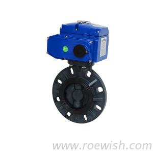 Electric DC24V AC220V Motorized PVC Wafer Butterfly Valve