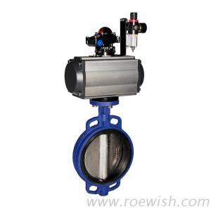 Double Acting Spring Return Pneumatic Wafer Butterfly Valve