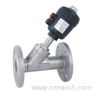 Flanged Pneumatic Angle Seat Valve With Pneumatic Actuator