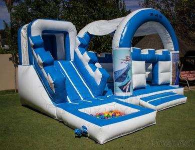 Party rental Kids frozen inflatable air jumping castle toy with cover and ball pond