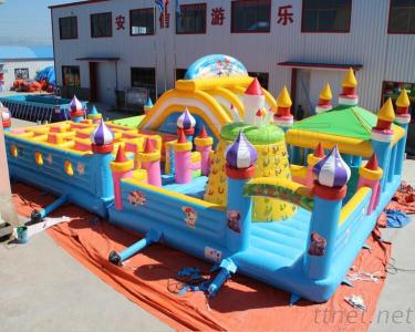 Large Inflatable Bouncer Playground With Slide Maze, Inflatable Fun City Funland