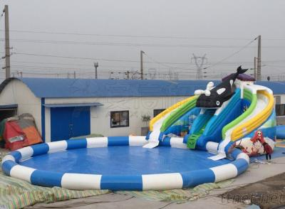 Buy Best price sale Family fun kids games backyard inflatable water slide with pool