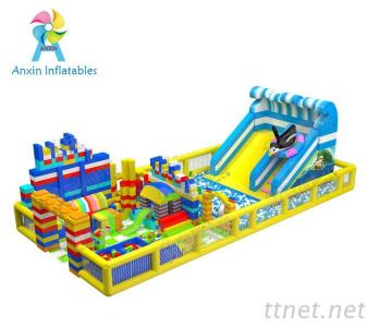 Commercial Indoor Shopping Malls Used Inflatable Ball Pit With Slide For Kids