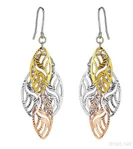 3 Color Gold Plated Sterling Silver Earring