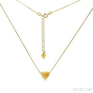 Golden Plated Sterling Silver Heart Necklace