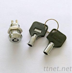 Key Switch Lock, Electric Switch Lock, 12mm key switches-K103-1 with black tubular keys