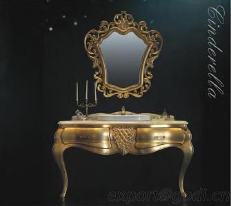 Gold Bathroom Vanity, Royal Antique Bathroom Vanity In Gold Color, Bathroom Mirror Set XZ-01