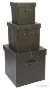 Faux Leather Storage Boxes (Set Of 3)
