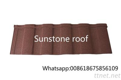 ISO Quality Management System Japanese Roof Tile, Sun Stone Chip Coated Metal Roof Tile For Building
