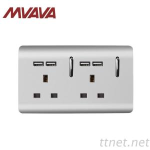 MVAVA Double UK Standard 13A Electrical Wall Socket With USB PC 3 Pin 148*88MM