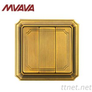MVAVA 3 Gang 1 Way Electrical Push Button Electrical Wall Switch Bronzed Series
