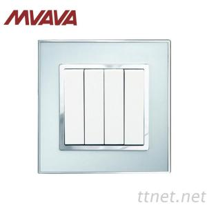 MVAVA 4 Gang Push Button Wall Light Switch Electrical 16A 250V Luxury Acrylic With Zinc Alloy Mirror Panel