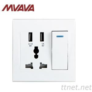 MVAVA 3 Pin Multi-Function Socket With 2 USB Port And 1 Gang Switch