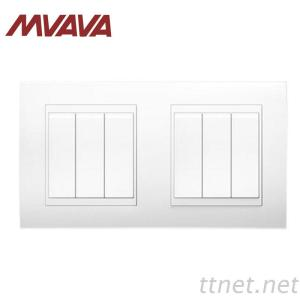 MVAVA 6 Gang Double Electrical Wiring Push Button Wall Switch 16A 110~250V Fire Proof White PC Panel