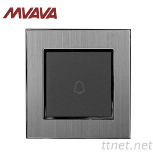 MVAVA 1 Gang Rest Doorbell Electrical Wall Switch Hotel EU UK Standard Silver Satin Metal Panel