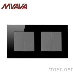 Mvava 4 Gang 2 Way Electrical Push Button Wall Switch Crystal Black Panel 146*86Mm