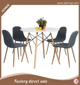 Mdf White Modern Dining Table With Wood Leg