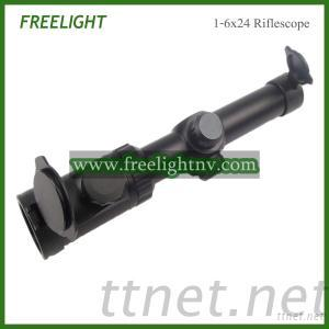 Tactical 1-6X24 Riflescope With Red Dot Illuminated Reticle Hunting Scope
