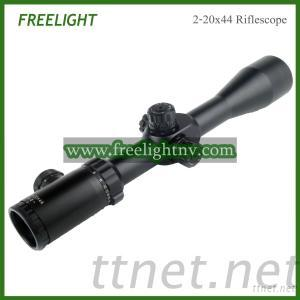 2-20X44 Compact Shooting Riflescope, Illuminated Red, Green Reticle Mil Dot Rifle Scope