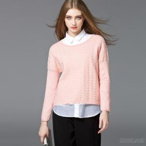 Women Sweater, Collar Neck Special Pointelle Knit, Girl Sweater