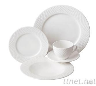 20Pcs Fine New Bone China Embossed Dinnerware Sets