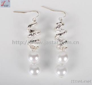 Silver Earring With Pearl Drop