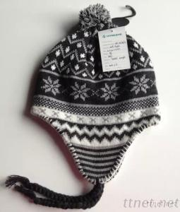 Jacquard Snow Flake Style Hat With Lining