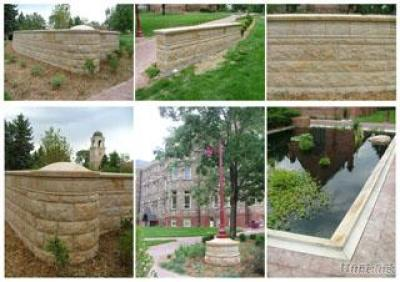Honed Coping & Rock Face Landscaping Wall